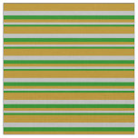 [ Thumbnail: Green, Grey & Dark Goldenrod Pattern Fabric ]