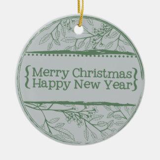Green Grey Leaves Christmas Ceramic Ornament