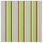 [ Thumbnail: Green, Grey, Light Yellow, and Dark Red Stripes Fabric ]