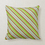 [ Thumbnail: Green, Grey, Light Yellow, and Dark Red Stripes Throw Pillow ]