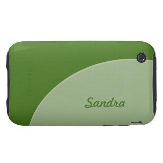 Green Grey Modern Circle iPhone 3 Tough Cases