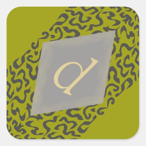 Green & Grey Scroll Monogram D  Diamond Stickers