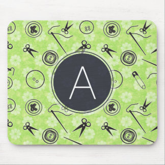 Green Grey Sewing Pattern with Monogram Mouse Pad