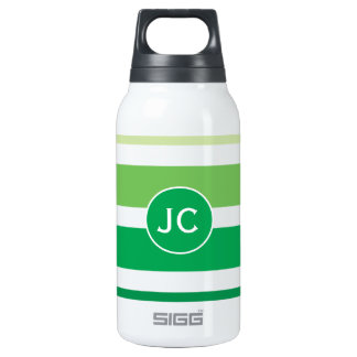 Green Grey Stripes Pattern Thermos Water Bottle