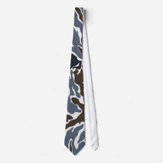 Green Grey White Camouflage Neck Tie