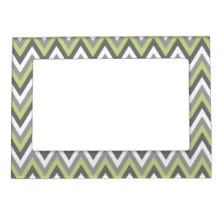 Green Grey White Chevron Pattern Magnetic Frames