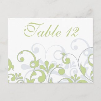 Green, Grey, & White Wedding Table Cards postcard