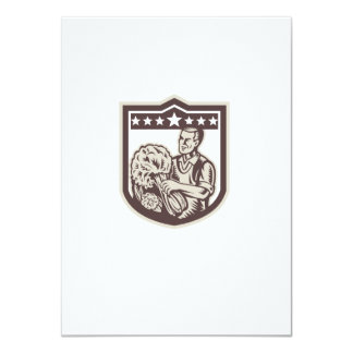 Green Grocer Vegetables Shield Woodcut 4.5x6.25 Paper Invitation Card