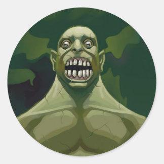 green growl classic round sticker