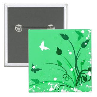 Green Grunge Butterflies Pinback Buttons