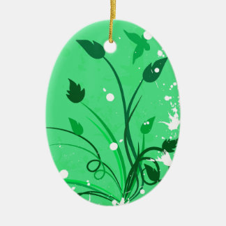 Green Grunge Butterfly Oval Ceramic Ornament