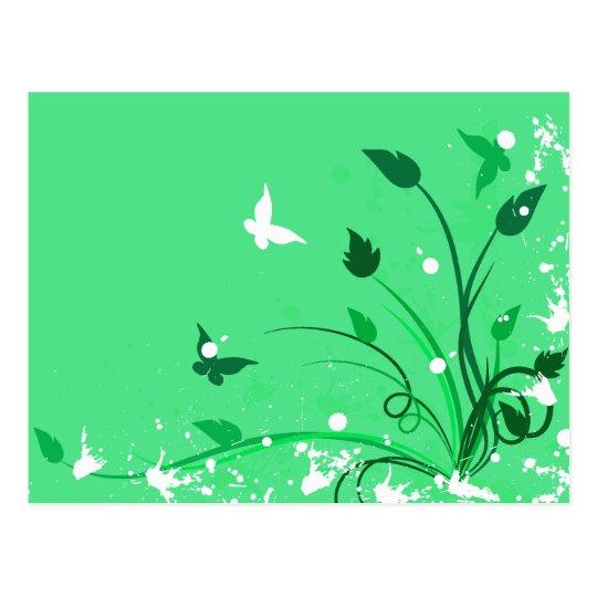 Green Grunge Butterfly Postcard