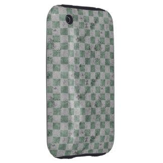 Green Grunge Checkerboard Tough iPhone 3 Case