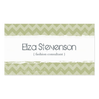 Green Grunge Chevron Consultant Business Card