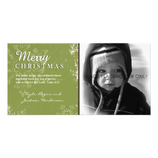Green Grunge Christmas Photo Card