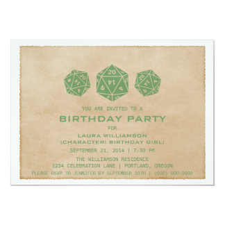 Green Grunge D20 Dice Gamer Birthday Party Invite