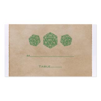 Green Grunge D20 Dice Gamer Place Card Business Card Templates
