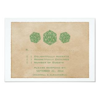 Green Grunge D20 Dice Gamer Response Card Invitations
