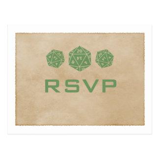 Green Grunge D20 Dice Gamer RSVP Postcard