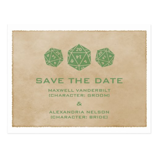 Green Grunge D20 Dice Gamer Save the Date Postcard