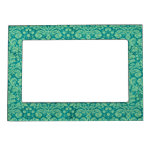 Green Grunge Damask Photo Frame Magnet