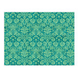 Green Grunge Damask Postcards