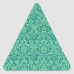 Green Grunge Damask Triangle Sticker