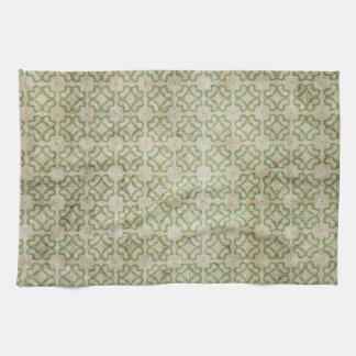 Green Grunge Flower Pattern Hand Towels
