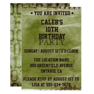 green grunge football birthday invitation - Football Birthday Party Invitations