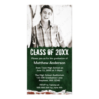 Green Grunge Graduation Announcement Photo Card
