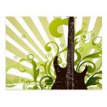 Green Grunge Guitar Postcards