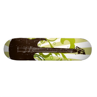 Green Grunge Guitar Skateboard Deck