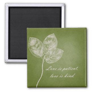 Green Grunge Leaves Magnets