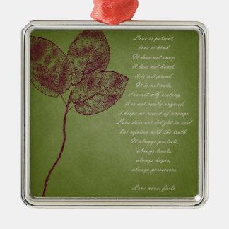 Green Grunge Leaves Metal Ornament