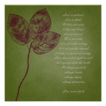 Green Grunge Leaves Poster