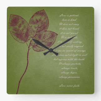 Green Grunge Leaves Square Wall Clock