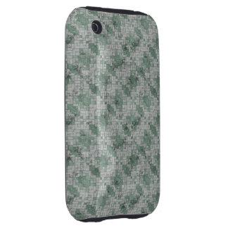 Green Grunge Mosaic Tough iPhone 3 Cases