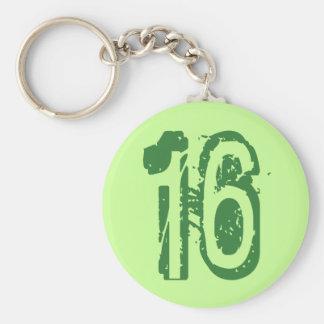 GREEN GRUNGE NUMBER 16 KEYCHAIN