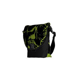 Green Grunge Skulls Courier Bag