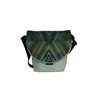 green grunge tile pattern messenger bag