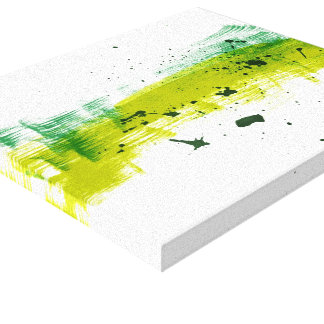 Green grungy brushstrokes gallery wrap canvas