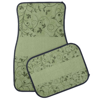 Green Grungy Floral Car Floor Mat