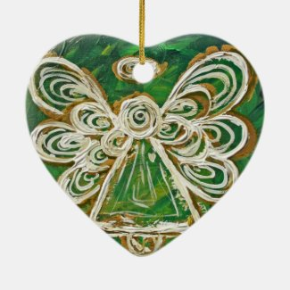 Green Guardian Angel Art Holiday Ornament