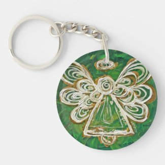 Green Guardian Angel Custom Keychain