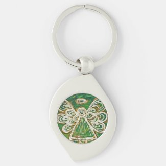Green Guardian Angel Custom Keychains