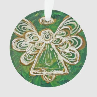 Green Guardian Angel Gift Holiday Ornament