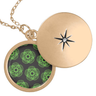 Green guilloce pattern round locket necklace