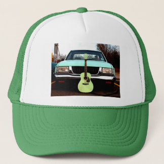 Green Guitar & Car Trucker Hat