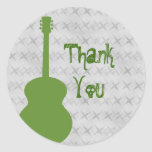 Green Guitar Grunge Thank You Stickers