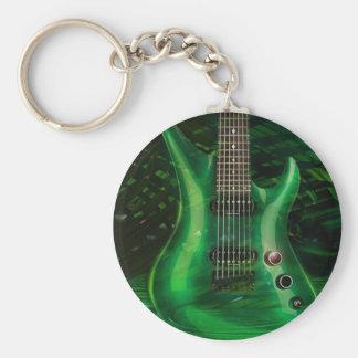 Green guitar keychain